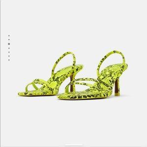 Zara Shoes - Zara Neon Snake Print Heel (Size 7)